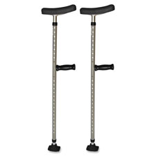 Universal single tube crutch, 2ea/pr, gray, sold as 1 pair