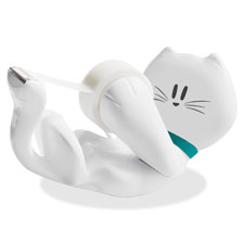 Kitty tape dispenser, 6pk/ct, white, sold as 1 each