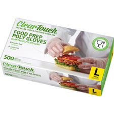 Clear-touch disposable gloves, med, 500/bx, clear, sold as 1 box, 10 each per box