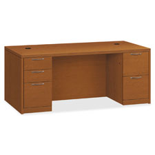 "Right pedestal desk, 72""x36""x29-1/2"", bourbon cherry, sold as 1 each"
