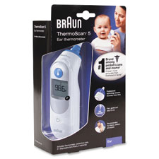 Ear thermometer, 2 aa batt req'd, white/blue, sold as 1 each