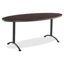 """Sit-to-stand table, oval, 30""""x36""""x72"""", 3 height set, walnut, sold as 1 each"""