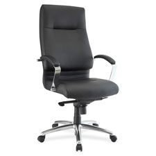 "Modern hi-back exec chair, 27-1/4""x28-3/4""x48-1/2"", black, sold as 1 each"