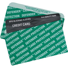 Credit card sleeve, rfid blocking, 10/pk, green, sold as 1 package, 1000 each per package