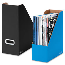 Magazine file, 4-compartment, 6/pk, white/blue, sold as 1 package