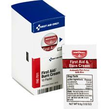 First aid burn cream, 10/pk, white, sold as 1 box