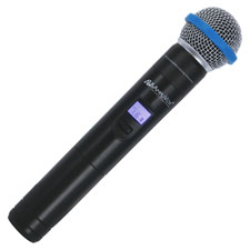 Wireless hand mic, req'd two batteries, black, sold as 1 each