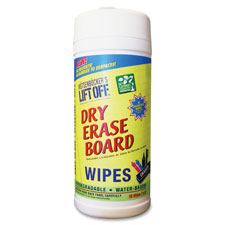 "Dry erase board cleaner wipes, 7""x12"", white, sold as 1 each, 6 each per each"