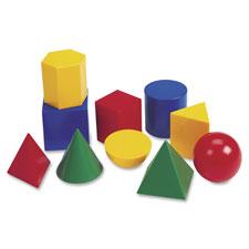 "Geometric shapes, plastic, large, 3""h, grade k+, 10pcs, ast, sold as 1 set, 6 each per set"
