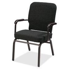 """Stack chair w/arm, 500lb cap, 25-1/2""""x25""""x35-1/2"""",bk fabric, sold as 1 carton, 2 each per carton"""