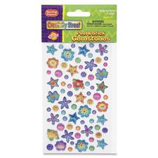 Peel/stick gemstones/flowers stickers, 432/st, multi, sold as 1 set