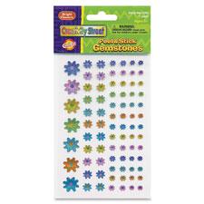 Peel/stick gemstones bright flowers, 486/st, multi, sold as 1 set