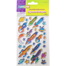 Peel/stick gemstones space chape stickers, 174/st, multi, sold as 1 set