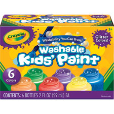 Washable kids paint, 2oz., 6/st, glitter/ast, sold as 1 set, 10 each per set
