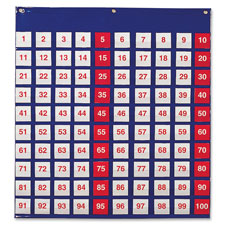 "Hundred pocket chart, 26""x27-1/2"", multi, sold as 1 each"