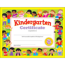 "Kindergarten certificate, 8-1/2""x11"", multi, sold as 1 each"