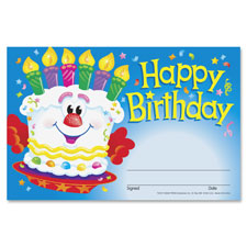 "Happy birthday cake award, 5-1/2""x8-1/2"", multi, sold as 1 package"