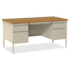 "Left pedestal desk, steel, 66""x30""x29-1/2"", putty oak, sold as 1 each"