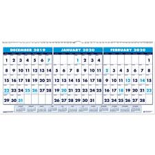 """3-mth wall calendar, 14mths dec-jan, 23-1/2""""x12"""", multi, sold as 1 each"""