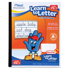 Learn to letter, see and feel, raised ruling, 40 shts/bk,ast, sold as 1 each