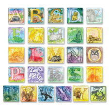"Embossed paper alphabet animals, 6""x6"", 26/st, multi, sold as 1 set, 24 each per set"