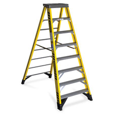 Fiberglass step ladder, type iaa, 8ft, yellow/silver, sold as 1 each