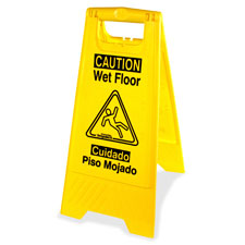 Graphic wet floor sign, eng/spanish, yellow, sold as 1 each, 12 each per each