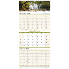 Recycled Scenic Compact Three-Month Wall Calendar, 8 x 17, 2019-2021   by Plexsupply