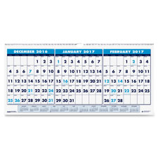 Recycled Three-Month Horizontal Wall Calendar, 17 x 8, 14-Month, 2019-2021   by Plexsupply