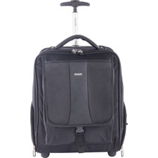 "Backpack on wheels, 9""x15""x18"", black, sold as 1 each"