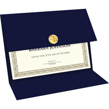Trifold traditional certificates, navy, sold as 1 package, 10 each per package