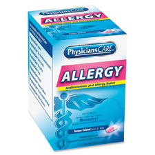 Allergy reflief tablet packets, 50/bx, blue, sold as 1 box