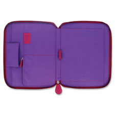 Zippered portfolio, letter, raspberry, sold as 1 each