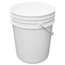 "Utility bucket,w/steel handle,5 gal,11-1/14""x14-1/2"",white, sold as 1 each"