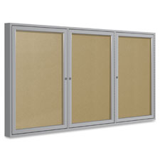 """Outdoor enclosed bulletin board, 3-dr, 48'x72"""", am, sold as 1 each"""