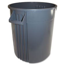 Trash container, 32 gal, gray, sold as 1 each