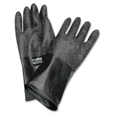 "Butyl chem protection gloves, sz-8, 14"", 17mil, 1/pr, bk, sold as 1 pair, 2 each per pair"