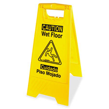 Wet floor sign, english/spanish, yellow/black, sold as 1 each
