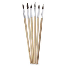 Watercolor brushes, size 8, 6/ct, ast, sold as 1 set, 6 each per set