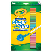 Super tips washable markers, 50/bx, ast, sold as 1 package
