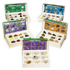 Rock mineral/fossil collection set, 62 pcs, ast, sold as 1 set