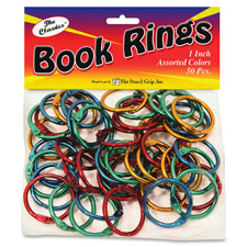"""Book ring, metallic, 1/10""""wx1""""lx1""""h, 50 ea/pk, ast, sold as 1 package, 12 each per package"""
