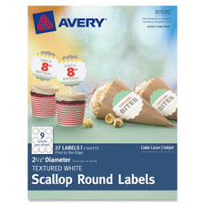 "Texturred white scallop round labels, 2-1/2"" d, 27/pk, we, sold as 1 package"