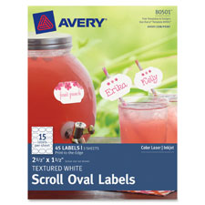 "Textured scrool oval label, 2-1/2""x2-1/2"", 36/pk, we, sold as 1 package"