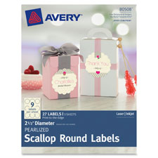 "Pearlized scallop round labels, 2-1/2"" d, 27/pk we, sold as 1 package"