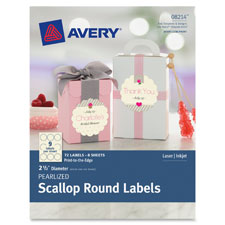 "Pearlized scallop round labels, 2-1/2"" d, 72/pk, iy, sold as 1 package, 25 sheet per package"