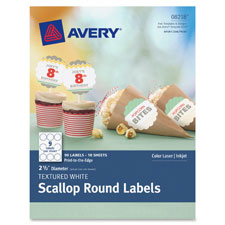 "Textured scallop round labels, 2-1/2"" d, 90/pk, we, sold as 1 package, 25 sheet per package"