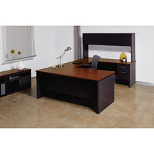 "Right return desk, 24""x48"", black/walnut, sold as 1 each"