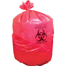 "Biohazard can liners, 1.3mil, 37""x50"", 150bg/bx, red, sold as 1 carton"