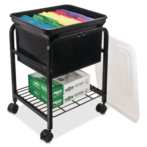 File Cart Is Designed To Store Letter Size And Legal Size, Hanging File  Folders. File Storage Area Includes A Plastic Tote With A Clear Lid.